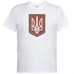 Мужская футболка  с V-образным вырезом Герб вышиванка - FatLine