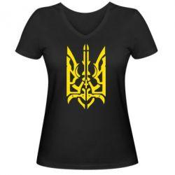 Женская футболка с V-образным вырезом Герб з металевих частин - FatLine