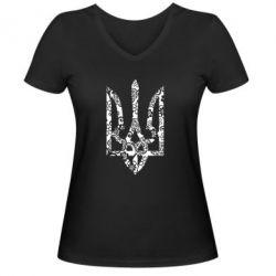 Женская футболка с V-образным вырезом Герб з візерунками - FatLine