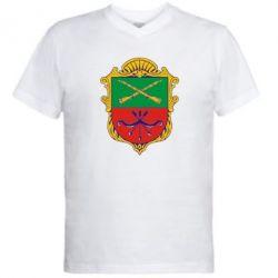 Мужская футболка  с V-образным вырезом Герб Запоріжжя - FatLine