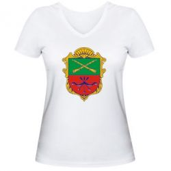 Женская футболка с V-образным вырезом Герб Запоріжжя - FatLine