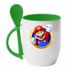 Кружка з керамічною ложкою Герой Маріо
