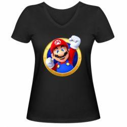 Жіноча футболка з V-подібним вирізом Герой Маріо