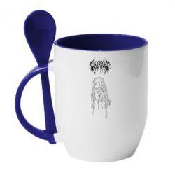 Кружка з керамічною ложкою Ghostemane gothic paint face