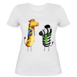 Жіноча футболка Giraffe and zebra