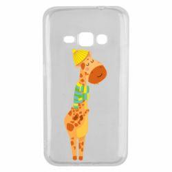 Чехол для Samsung J1 2016 Giraffe in a scarf