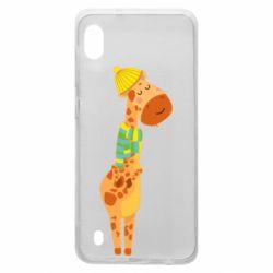 Чехол для Samsung A10 Giraffe in a scarf
