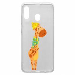 Чехол для Samsung A20 Giraffe in a scarf