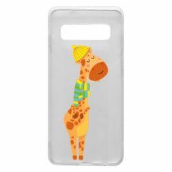 Чехол для Samsung S10 Giraffe in a scarf