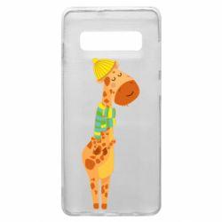 Чехол для Samsung S10+ Giraffe in a scarf
