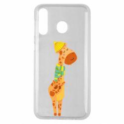 Чехол для Samsung M30 Giraffe in a scarf