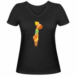 Женская футболка с V-образным вырезом Giraffe in a scarf
