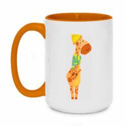 Кружка двухцветная 420ml Giraffe in a scarf