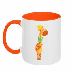 Кружка двухцветная 320ml Giraffe in a scarf