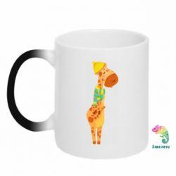 Кружка-хамелеон Giraffe in a scarf