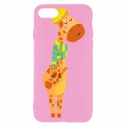 Чехол для iPhone 7 Giraffe in a scarf