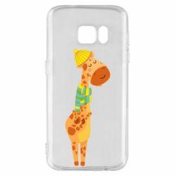 Чехол для Samsung S7 Giraffe in a scarf
