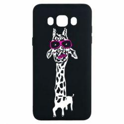 Чохол для Samsung J7 2016 Giraffe in pink glasses