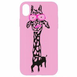 Чохол для iPhone XR Giraffe in pink glasses