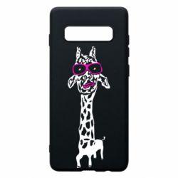 Чохол для Samsung S10+ Giraffe in pink glasses