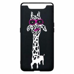 Чохол для Samsung A80 Giraffe in pink glasses
