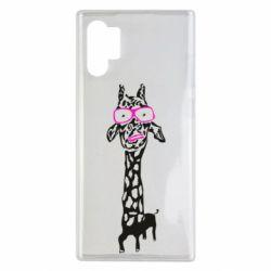 Чохол для Samsung Note 10 Plus Giraffe in pink glasses