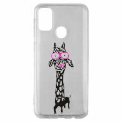 Чохол для Samsung M30s Giraffe in pink glasses
