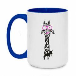 Кружка двоколірна 420ml Giraffe in pink glasses