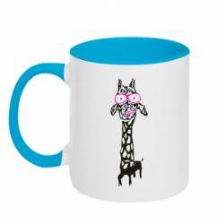 Кружка двоколірна 320ml Giraffe in pink glasses