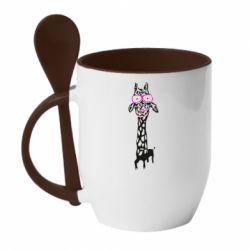 Кружка з керамічною ложкою Giraffe in pink glasses