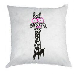 Подушка Giraffe in pink glasses