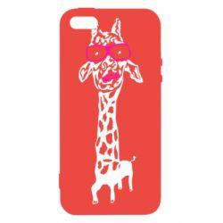 Чохол для iphone 5/5S/SE Giraffe in pink glasses