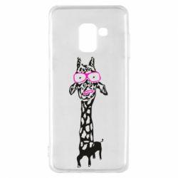 Чохол для Samsung A8 2018 Giraffe in pink glasses