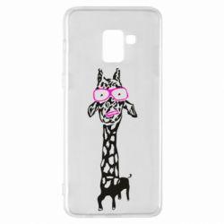 Чохол для Samsung A8+ 2018 Giraffe in pink glasses