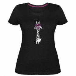Жіноча стрейчева футболка Giraffe in pink glasses