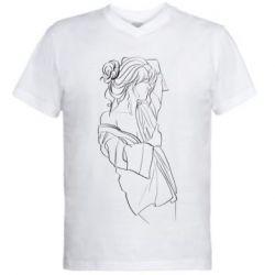 Мужская футболка  с V-образным вырезом Girl after a shower