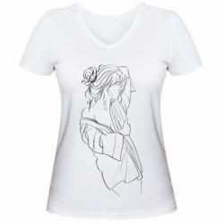 Женская футболка с V-образным вырезом Girl after a shower