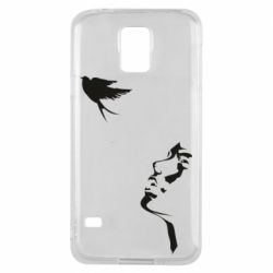 Чехол для Samsung S5 Girl and bird