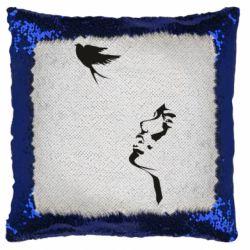 Подушка-хамелеон Girl and bird