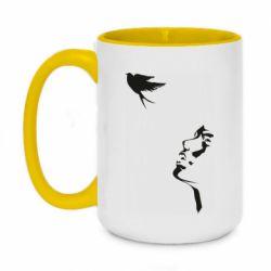 Кружка двухцветная 420ml Girl and bird