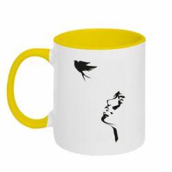 Кружка двухцветная 320ml Girl and bird
