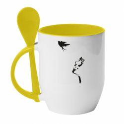 Кружка с керамической ложкой Girl and bird