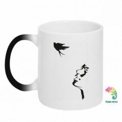 Кружка-хамелеон Girl and bird