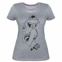 Жіноча стрейчева футболка Girl and cloud