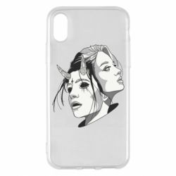 Чехол для iPhone X/Xs Girl and demon