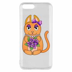Чехол для Xiaomi Mi6 Girl cat with flowers