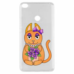 Чехол для Xiaomi Mi Max 2 Girl cat with flowers