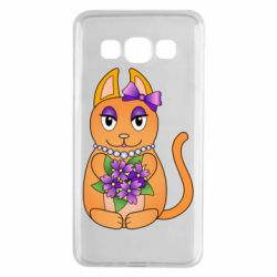 Чехол для Samsung A3 2015 Girl cat with flowers