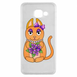 Чехол для Samsung A3 2016 Girl cat with flowers