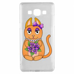 Чехол для Samsung A5 2015 Girl cat with flowers